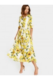 Lemon Print Belted Dress  - Passerella -