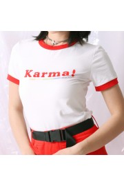 Letter Printed Round Collar Contrast Sho - Moj look - $19.99  ~ 126,99kn
