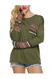LuckyMore Women Long Sleeve O-Neck Pocket Patchwork Casual Loose T-shirt Blouse Tops (XXL, Army Green) - Il mio sguardo -