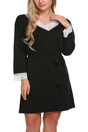LuckyMore Women's 3/4 Sleeve Knee Loose Lace Trim Nightdress With Belt - Il mio sguardo - $16.99  ~ 12.83€