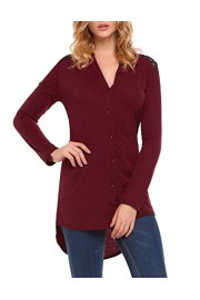 LuckyMore Womens Casual Back Lace V-Neck Button Cuffed Long Sleeve Tunic Tops High Low - My look - $30.00
