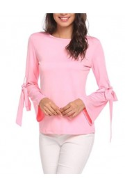 LuckyMore Womens Casual Flare Long Sleeve Round Neck Arm Tie Tops T-Shirt Blouse - My look - $28.00