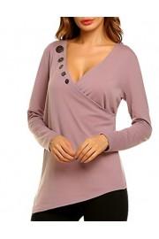 LuckyMore Womens Casual Long Sleeve Button V Neck T Shirt Tops Irregular Hem - Il mio sguardo - $25.00  ~ 18.88€