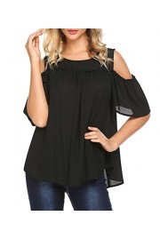 LuckyMore Womens Chiffon Cold Shoulder Short Sleeve Summer Shirt Tops Blouse - My look - $12.99