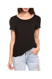 LuckyMore Women's Cold Open Shoulder Open Back Short Sleeve Tops Tunic Shirts - Il mio sguardo - $9.98  ~ 7.54€