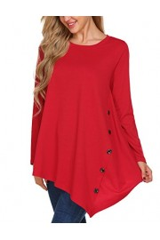 LuckyMore Womens Loose Blouse Scoop Neck Long Sleeve Button Asymmetrical Tunic Tops Plus Size (L, Red) - My look - $9.99