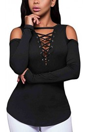 LuckyMore Women's Sexy Open Cold Shoulder Lace-up Ribbed Tops Shirt Blouses - My look - $4.59