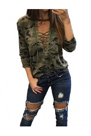 LuckyMore Women's Sexy V Neck Long Sleeve Camouflage Print Lace Up Blouse T-Shirt Tops - My look - $12.99