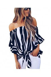 LuckyMore Womens Striped Off Shoulder Bell Sleeve Shirt Tie Knot Summer Blouses Tops - My look - $6.98