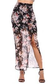 LuckyMore Women's Summer Boho Chiffon Floral Split Long Beach Skirt - My look - $9.99