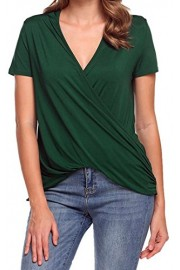 LuckyMore Womens Summer Casual Short Sleeve Cross Wrap Blouse Tops and T Shirts - Il mio sguardo - $9.99  ~ 7.54€