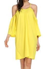 LuckyMore Women's Summer Cold Shoulder Ruffle Sleeve Loose Beach Dress - Il mio sguardo - $9.99  ~ 7.54€