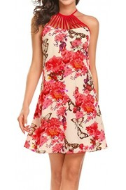LuckyMore Women's Summer Sleeveless Floral Printed Halter Party Dress - Il mio sguardo - $8.99  ~ 6.79€