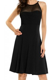 LuckyMore Women's Summer Sleeveless Halter Neck A line Pleated Cocktail Dress - Il mio sguardo - $9.99  ~ 7.54€
