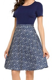 LuckyMore Women's Vintage Patchwork Short Sleeve Swing Cocktail Party Dress - Il mio sguardo - $8.99  ~ 6.79€