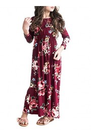 MITILLY Girls Flower 3/4 Sleeve Pleated Casual Swing Long Maxi Dress with Pockets - My look - $16.99