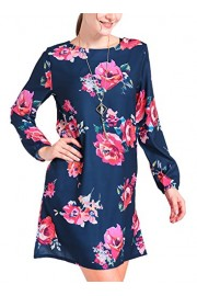 MITILLY Women's Chiffon Boho Floral Print Long Sleeve Pocket Casual T-Shirt Dress - My look - $6.99