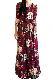 MITILLY Women's Floral Print 3/4 Sleeve Pockets Casual Swing Pleated Long Maxi Dress - My look - $19.99