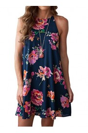MITILLY Women's Halter Neck Boho Floral Print Loose Casual Sleeveless Short Dress - My look - $15.99