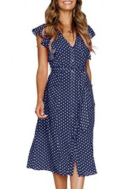 MITILLY Women's Summer Boho Polka Dot Sleeveless V Neck Swing Midi Dress with Pockets - My look - $18.99