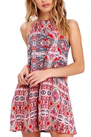 MITILLY Women's Summer Floral Print Bohemian Casual Sleeveless T-Shirt Dress with Pockets - My look - $16.99