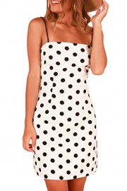 MITILLY Women's Summer Sleeveless Polka Dot Spaghetti Strap Casual Slim Halter Dress - My look - $6.99