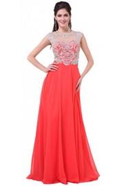 Meier Women's Cap Sleeve Sheer Back Embroidery Rhinestone Pageant Formal Prom Dress - Moj look - $299.00  ~ 1.899,42kn