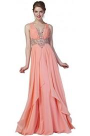 Meier Women's Chiffon Open Back Rhinestone Formal Party Dress - Moj look - $239.00  ~ 1.518,26kn