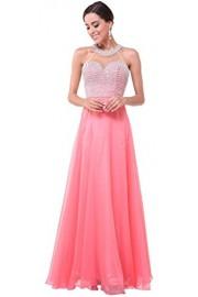 Meier Women's High Neck Sheer Back Pearl Pageant Formal Prom Party Dress - Moj look - $269.00  ~ 1.708,84kn