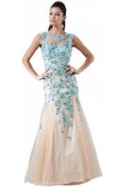 Meier Women's Mermaid Embroidery Sleeveless Open Back Prom Evening Ball Gown Dress - Moj look - $249.00  ~ 1.581,79kn