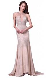 Meier Women's Mermaid Rhinestone Halter Open Back Prom Formal Dress - Moj look - $489.00  ~ 3.106,41kn