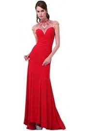 Meier Women's Sheer Back High Neck Rhinestone Prom Evening Dress - Moj look - $219.00  ~ 1.391,21kn