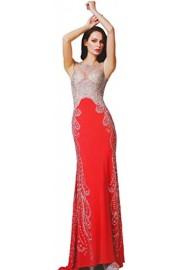 Meier Women's Sheer Bodice Embroidery Rhinestone Prom Evening Formal Dress - Moj look - $519.00  ~ 3.296,99kn