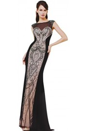 Meier Women's Sleeveless Embroidery Rhinestone Black Evening Formal Dress - Moj look - $319.00  ~ 2.026,47kn
