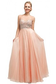 Meier Women's Sleeveless Sheer Top Beaded Formal Chiffon Prom Dress - Moj look - $169.00  ~ 1.073,58kn
