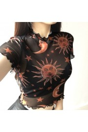 Mesh Angel Printed Navel Ears Short Slee - My look - $15.99