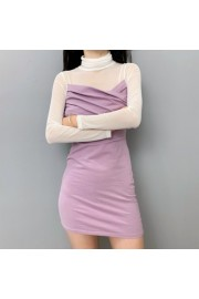 Mesh stitching knit dress slim slimming - My look - $29.99