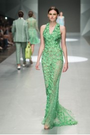 Michael Cinco Summer 2015 green gown  - Catwalk -