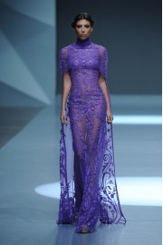 Michael Cinco Summer 2015 purple gown  - Catwalk -