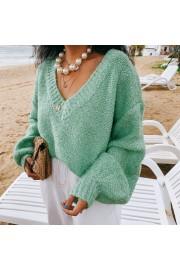 Mint Green V-neck Lantern Sleeve Sweater - My look - $35.99