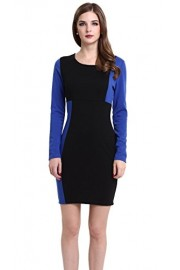 Mooncolour Women's Long Sleeve Crewneck Color Block Ol Bodycon Dress (Black/Blue, 2XL) - My look - $22.65