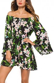 Mooncolour Women's Summer Off The Shoulder Floral Print Flare Sleeve Casual Tunic Mini Dress - My look - $9.99