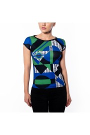 Multi Color Geometric Print Slim Fit T-S - Catwalk - $46.00