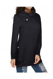 OUGES Womens Casual Tunic Tops With Pockets Long Sleeve Button Cowl Neck - My look - $34.99