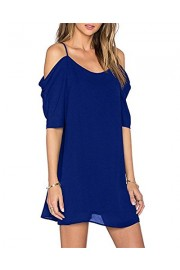 OUGES Women's Cut Out Cold Shoulder Puff Sleeve Spaghetti Strap Dress Top - My look - $19.99