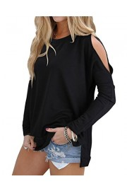 OUGES Women's Cutout Cold Shoulder Long Sleeve T-Shirt Tunic Tops - My look - $29.99