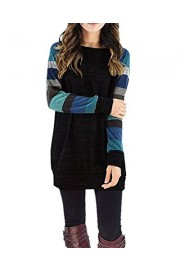 OUGES Women's Long Sleeve Round Neck Patchwork Casual Shirt Tops - My look - $24.99