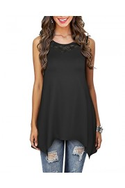 OUGES Women's Summer Sleeveless Floral Lace Flared Tunic Tank Tops - My look - $18.99