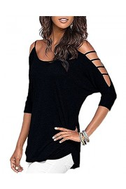 OUGES Women's Three-Quarter Sleeves Hollowed Out Shoulder Casual Shirt Tops - My look - $18.99