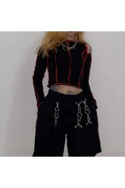 Off-the-shoulder slim-fit stitching nave - Моя внешность - $19.99  ~ 17.17€